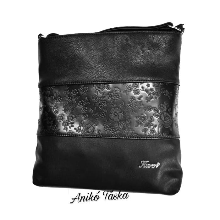 Karen női oldal táska többszínű fekete virágmintás