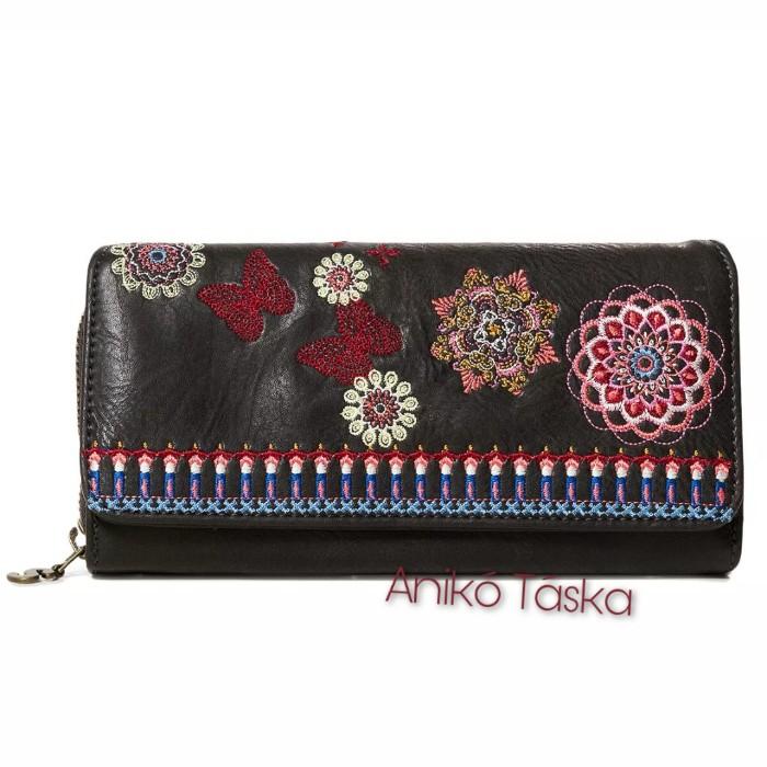 Desigual nagy pénztárca sok kártyatartós fekete színes virágos