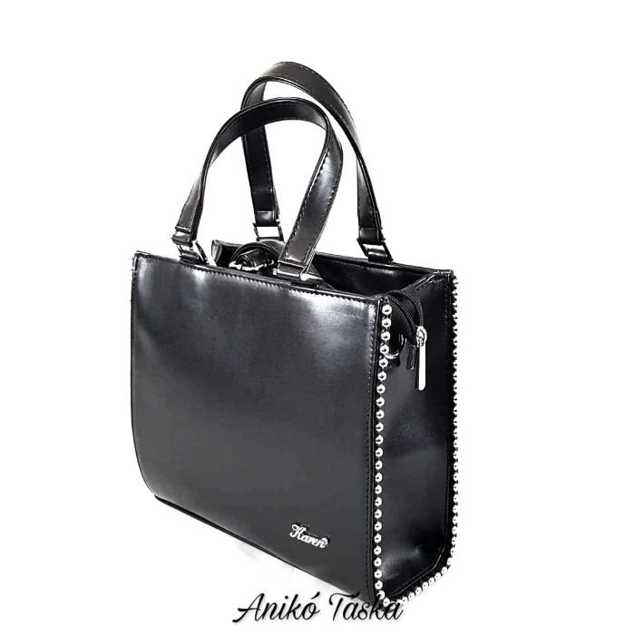 Karen kocka táska szegecses szegéllyel fekete N207