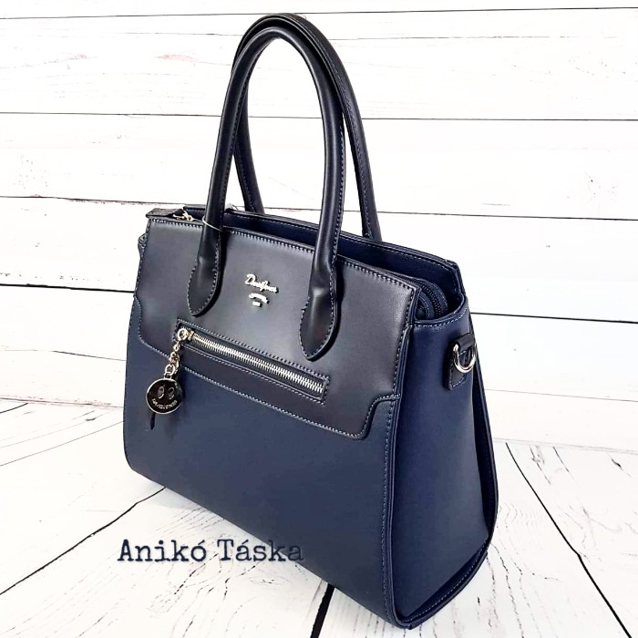 David Jones női táska merev falú sokzsebes kék