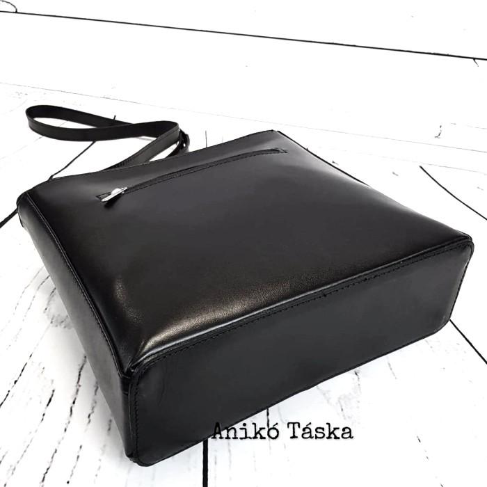 Olasz bőr női táska hosszú vállpánttal fekete