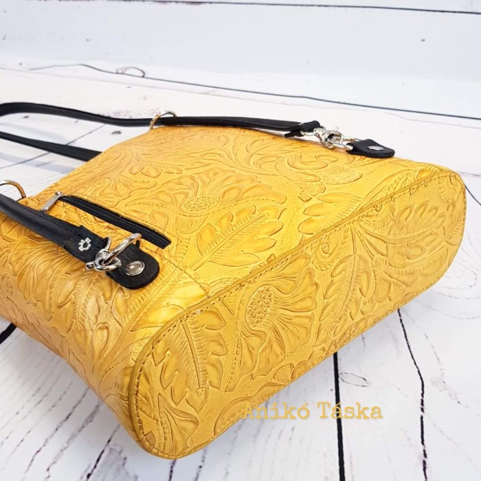 Bőr női válltáska hátizsák virágmintás sárga