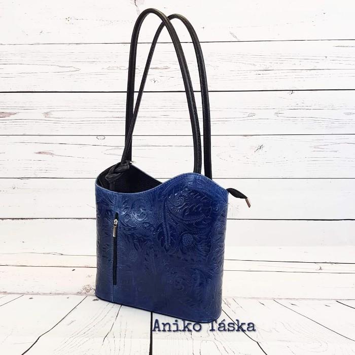 Bőr női válltáska hátizsák virágmintás kék