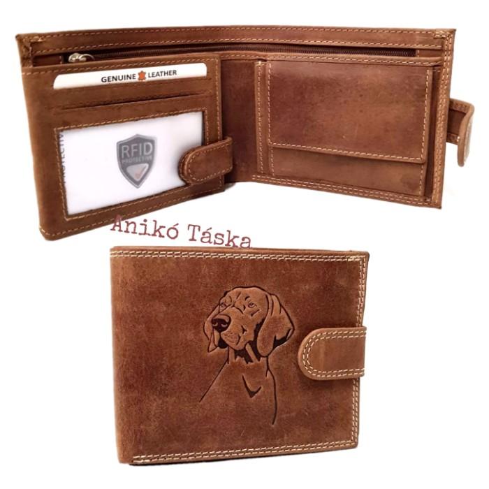 Vadász férfi bőr pénztárca vizslás kapcsos belül kapcsos RFID