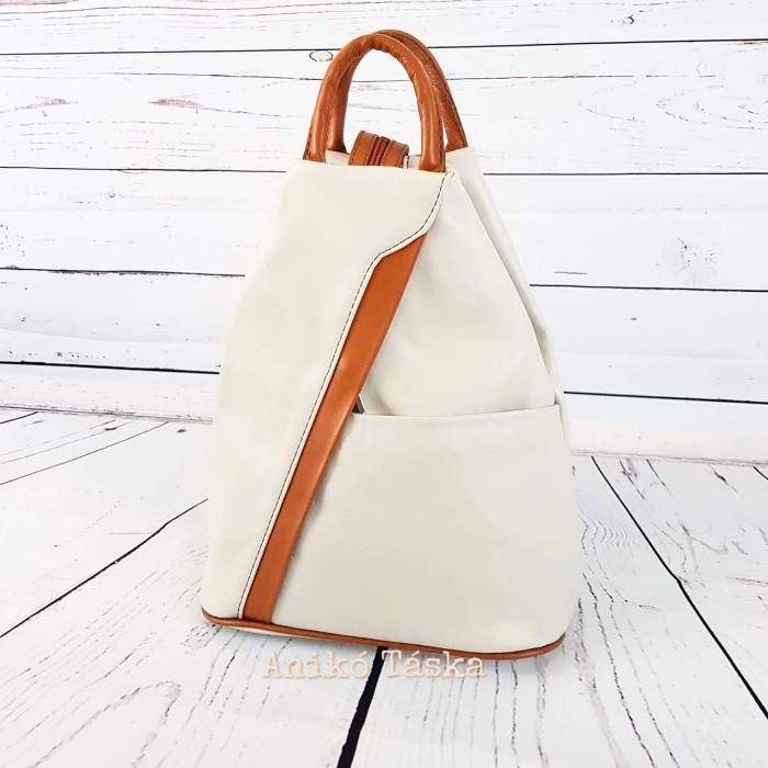Olasz bőr háti táska bézs-barna