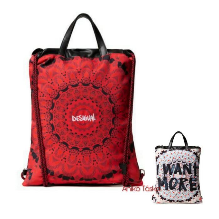 Desigual női háti táska vékony pántos fehér piros