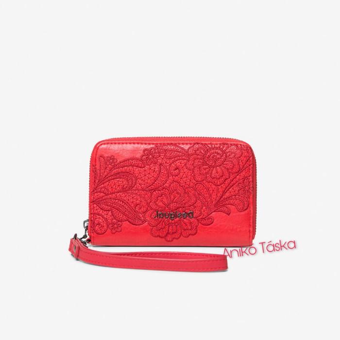 Desigual pénztárca kis cipzáras piros himzett