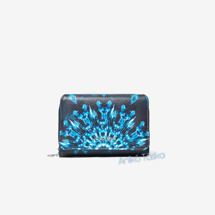Desigual pénztárca két oldalra nyíló fekete kékmandala mintás
