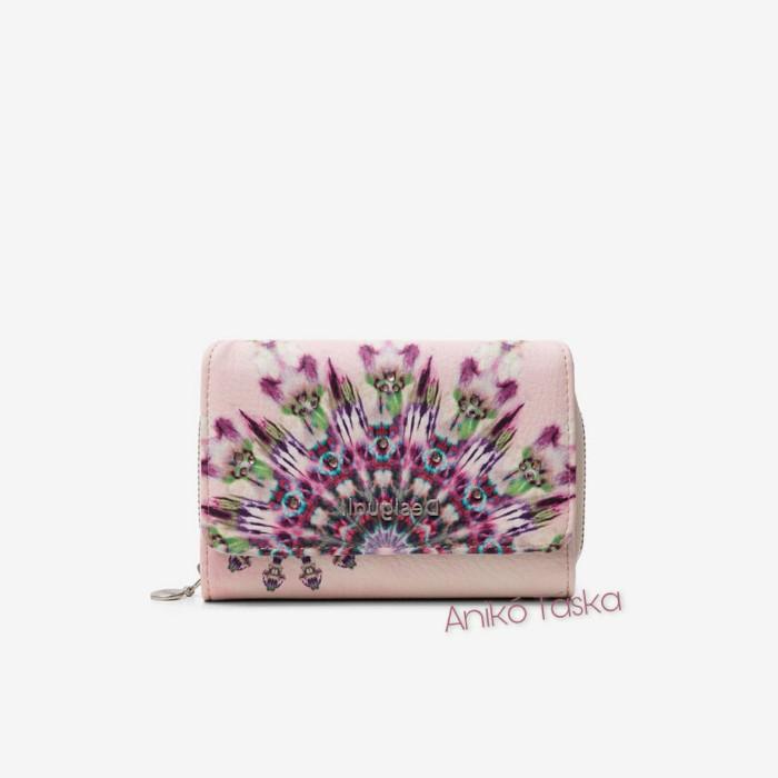 Desigual pénztárca két oldalra nyíló fehér pinkmandala mintás