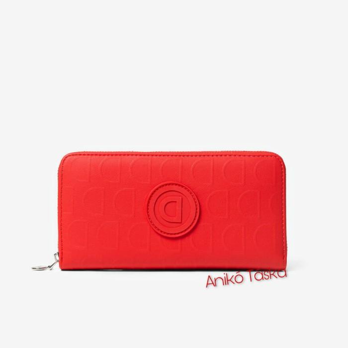 Desigual pénztárca cipzáras piros D mintás piros