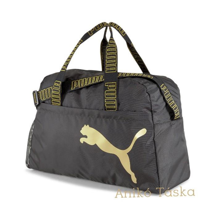 Puma női fitnesz táska könnyű anyagú állítható pántos fekete arany mintával