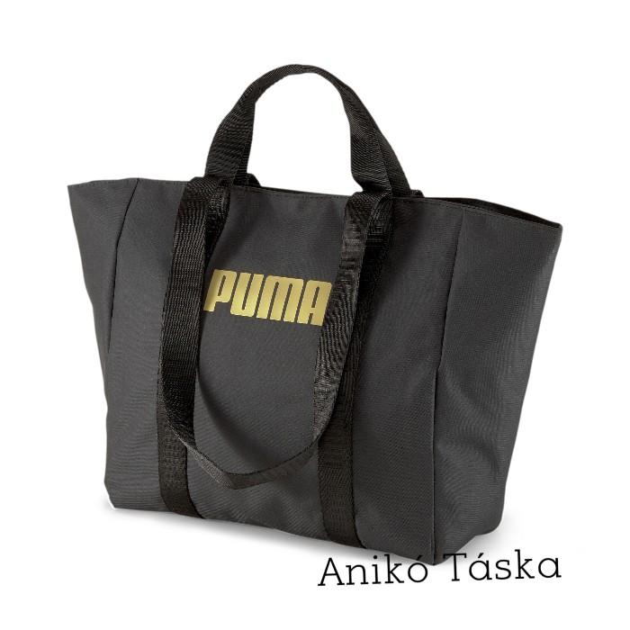 Puma csábítóan sokoldalú shopper táska fekete bronz feliratos