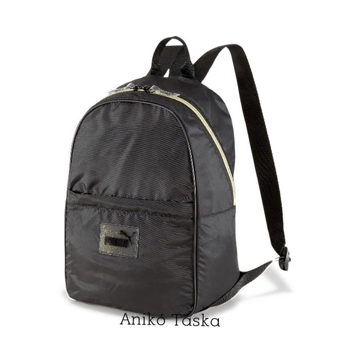 Puma női háti táska íves fekete ezüst cipzáras
