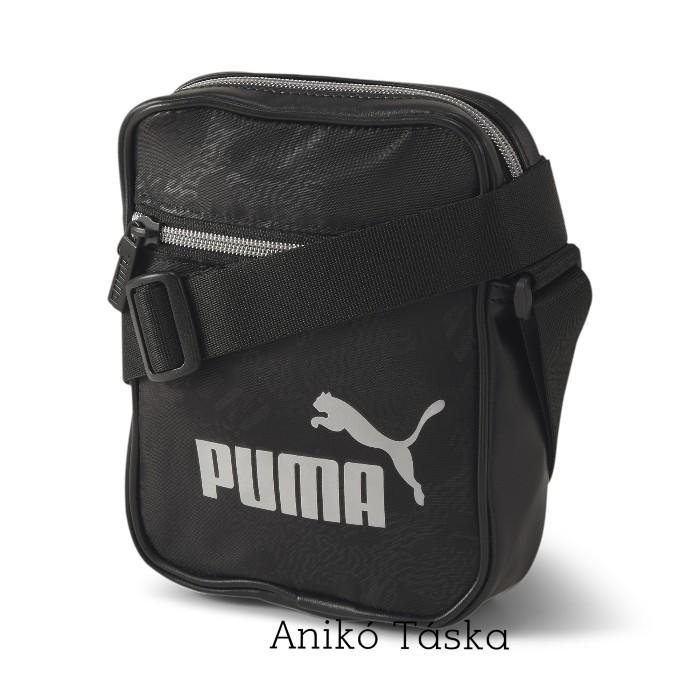 Puma bőrhatású kis oldaltáska fekete