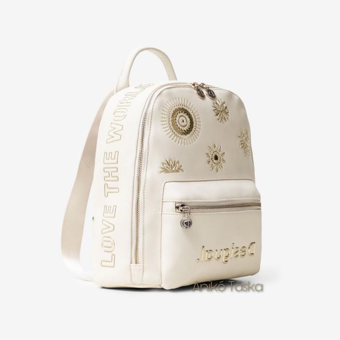 Desigual háti táska kis íves aranymandalás törtfehér