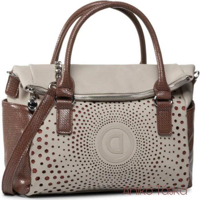 Desigual női táska lehajtó fedeles bowling táska lukacsos bézs
