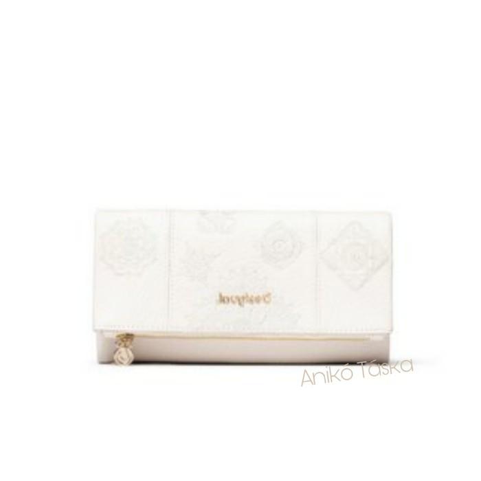 Új Desigual fedeles pénztárca női brifkó hímzett fehér