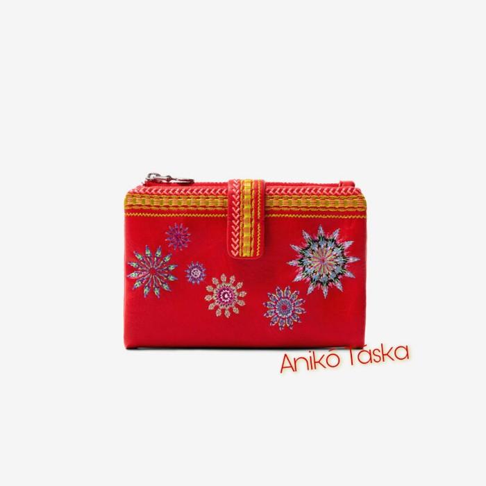 Desigual kis pénztárca cipzáras és patentos piros
