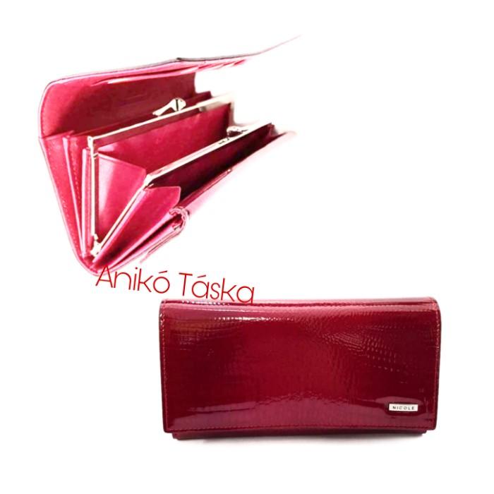 SLM bőr női pénztárca lakk keretes fedeles piros