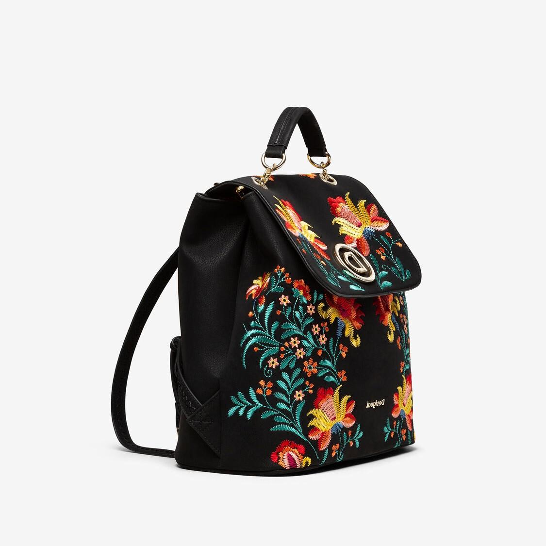 Desigual háti táska fedeles láncos hímzett fekete