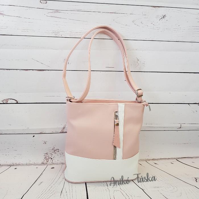 Karen női táska állítható vállpánttal fehér rózsaszín N157