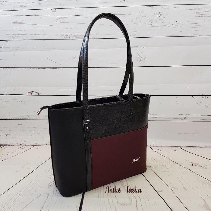 Karen nagy női táska merev falú bordó fekete1451