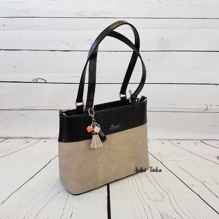 Karen női táska kis  szögletes kézi táska bézs-fekete 2248