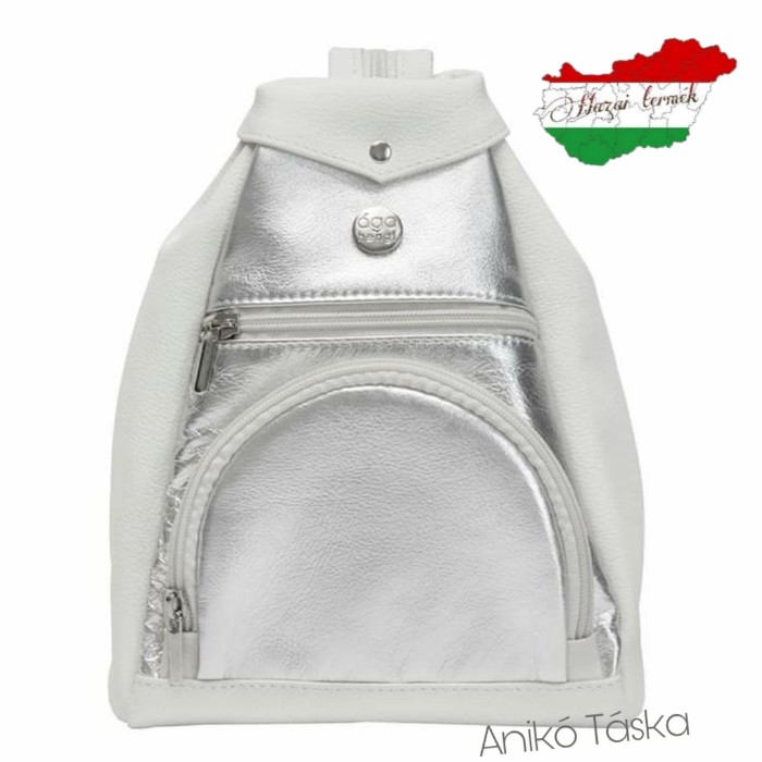 AgaHengl kis bőr női hátitáska fehér ezüst Gyömbér S