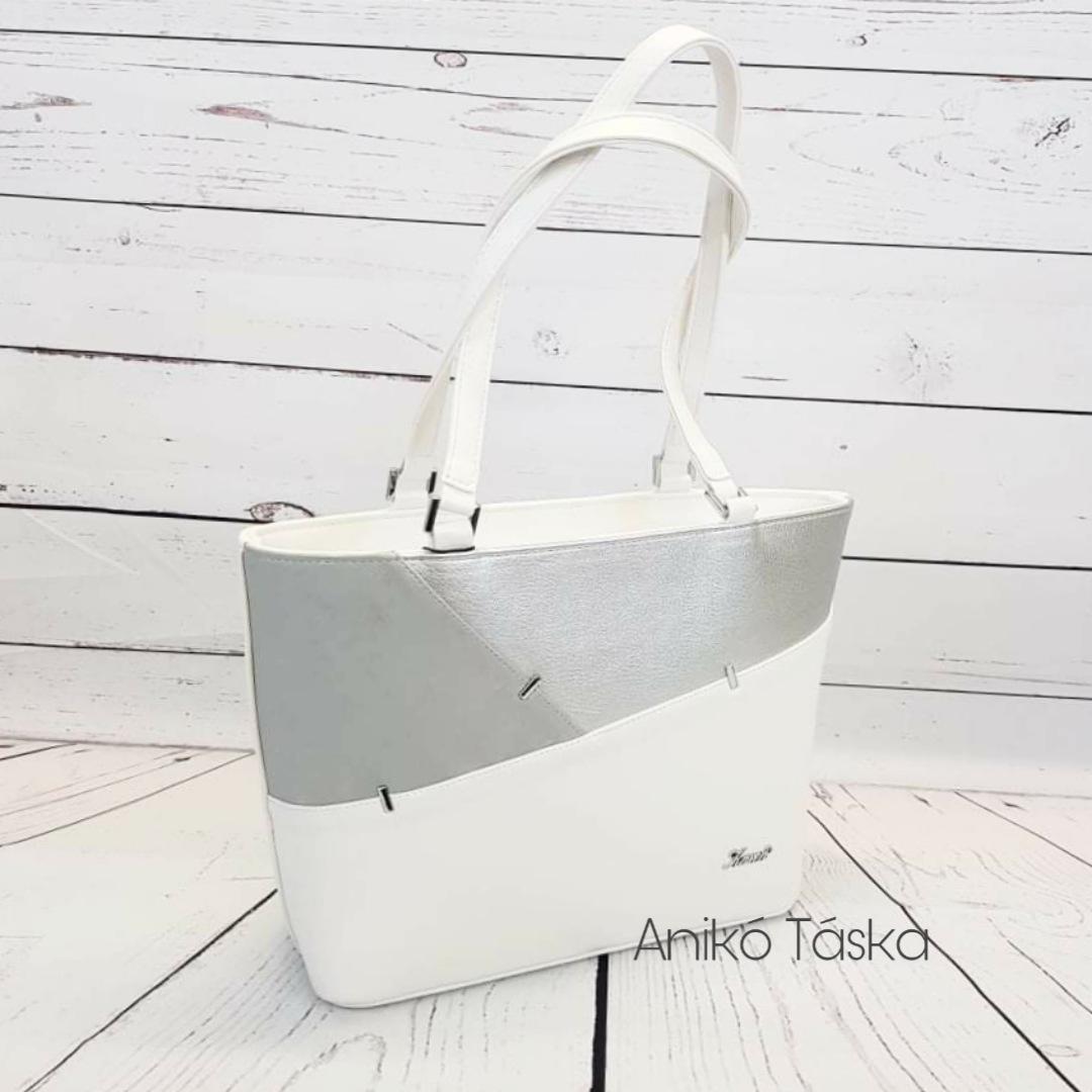 Karen merev falú táska tűzött fehér ezüst 9283