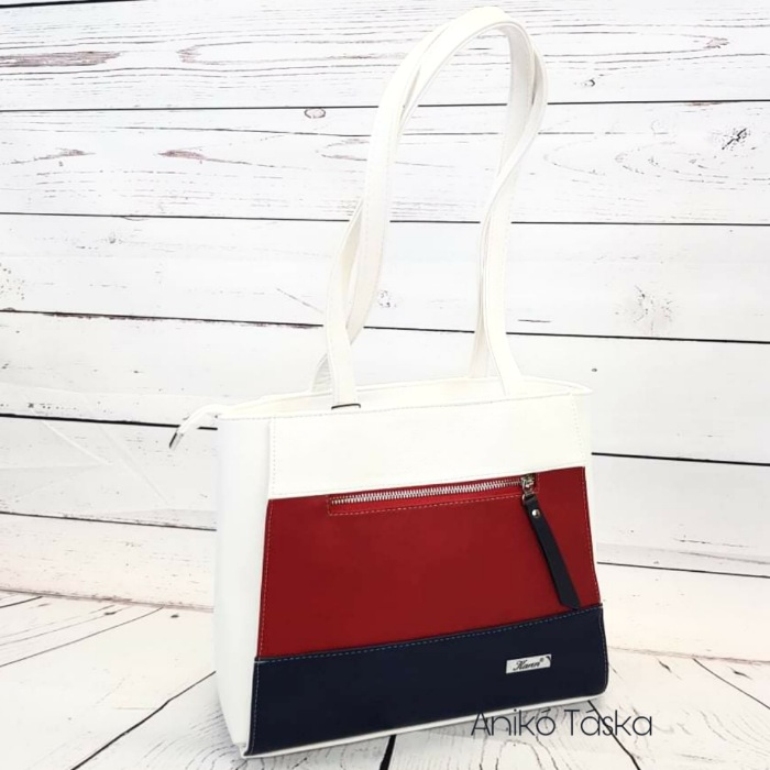 Karen merev falú táska elején cipzáras piros kék fehér 1450