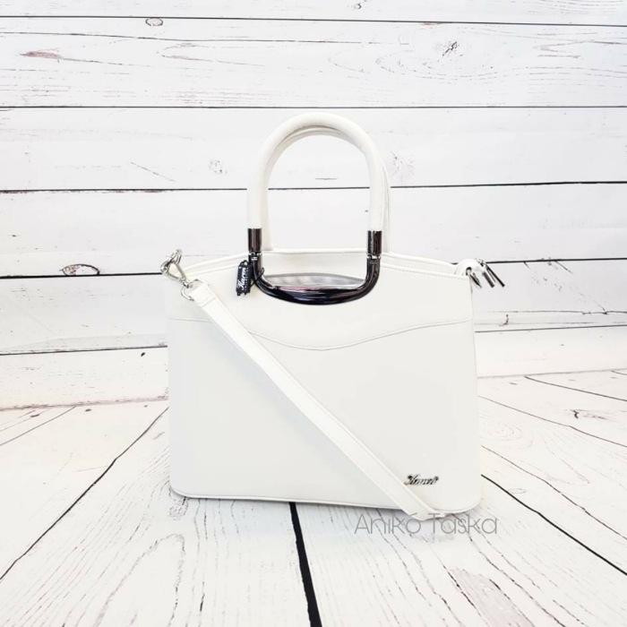 Karen elegáns női kézi táska fehér fém fogós 9158