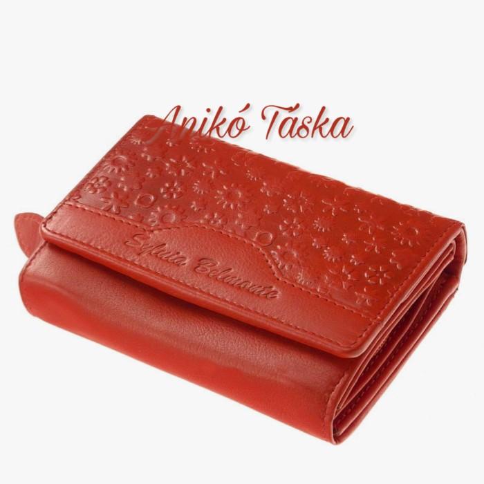 Virágos bőr női pénztárca dupla aprópénztartóval piros