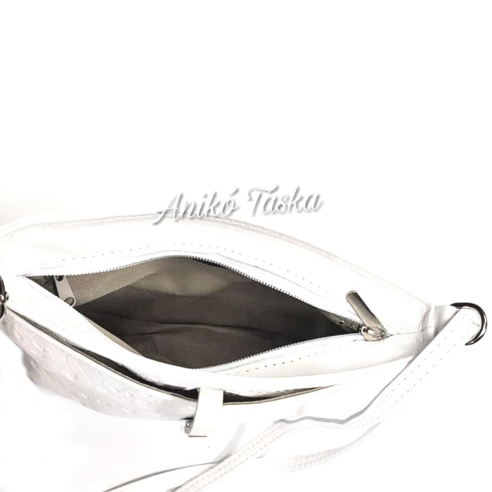 0c1f279fd9e4 Billenő záras kis női bőr táska virágos fehér