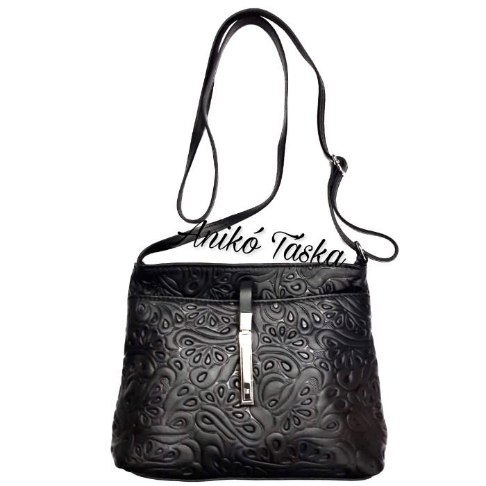 Billenő záras kis női bőr táska virágos fekete