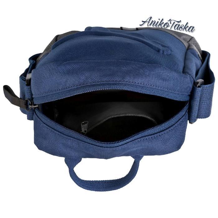 Puma vászon válltáska domború mintával kék, fekete