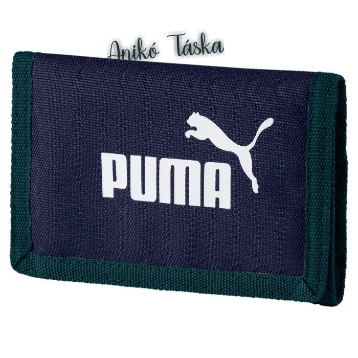 Puma logós tépőzáras pénztárca sötétkék zölddel