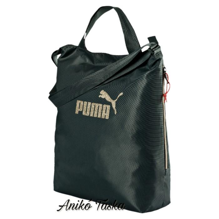 d759e6185fd6 Puma shopper női táska állítható vállpánttal fekete arany felirat