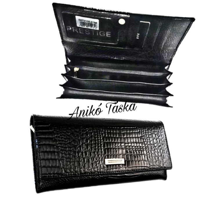 Prestige lakkbőr női brifkó pénztárca cipzáros fekete