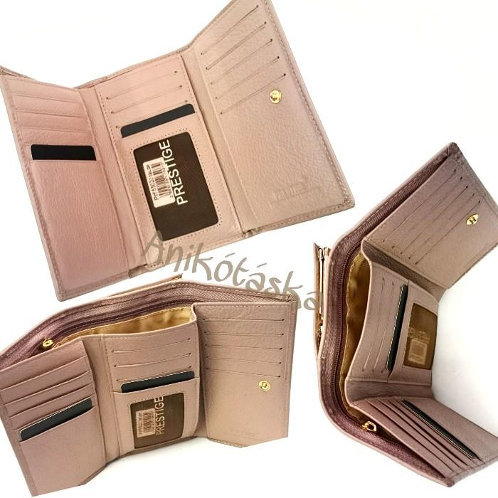 Tejeskávé színű kártyatartós keretes bőr női pénztárca