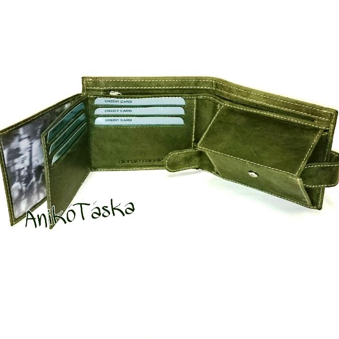 Szarvasbőr férfi pénztárca zöld