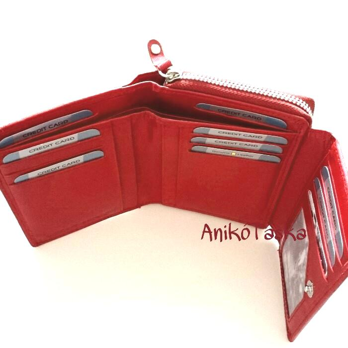 Piros bőr női pénztárca