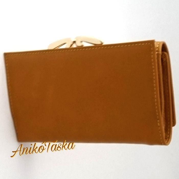 Napraforgósárga színű kártyatartós keretes bőr női pénztárca