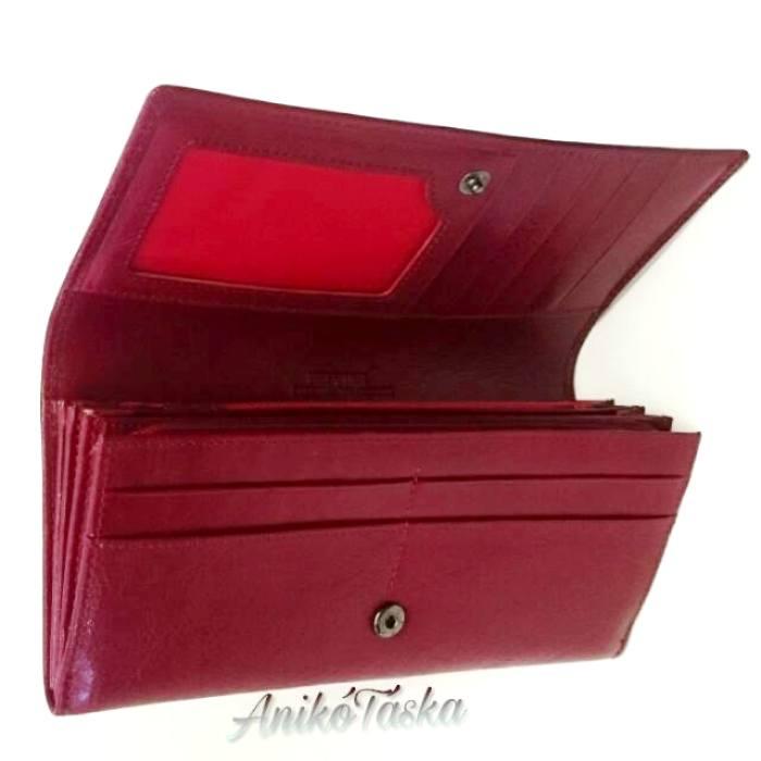 Piros bőr női brifkó pénztárca cipzáros