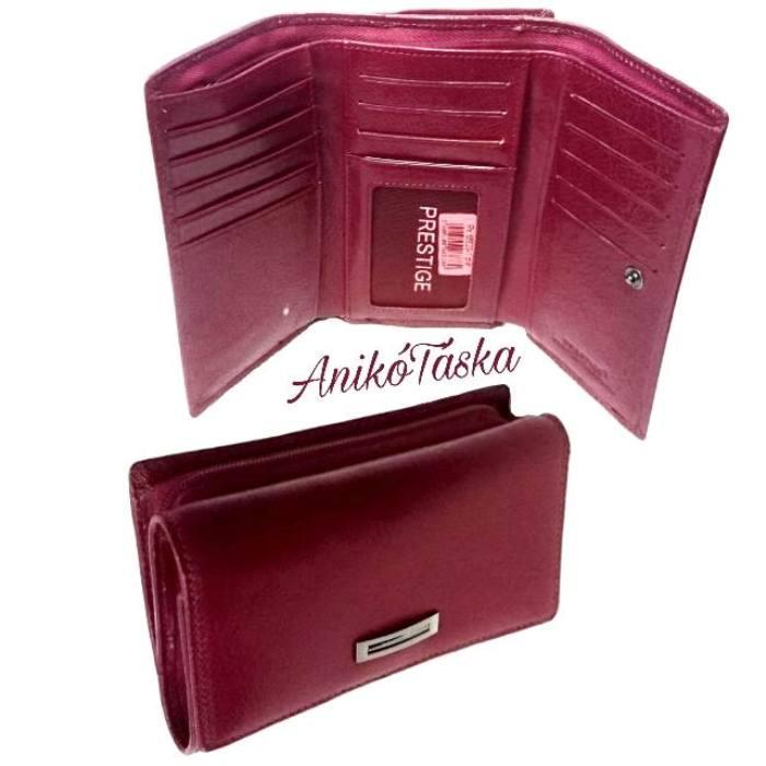 Piros színű sok kártyatartós bőr női pénztárca cipzáras