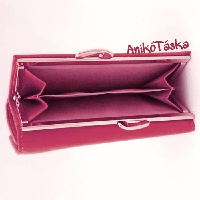 Málna rózsaszínű kártyatartós keretes bőr női pénztárca