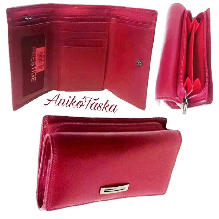 Piros kis bőr női pénztárca cipzáras Prestige b8707e4e52