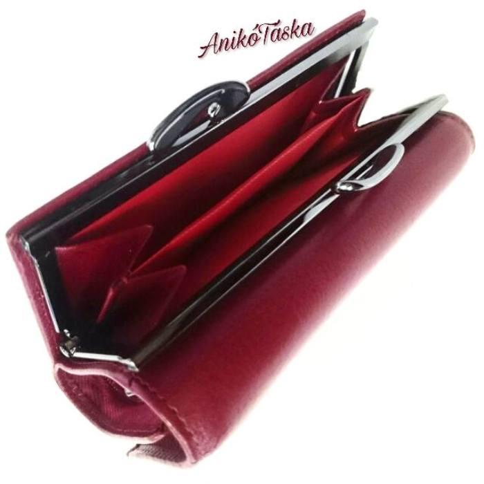 Piros kis bőr női pénztárca keretes Prestige