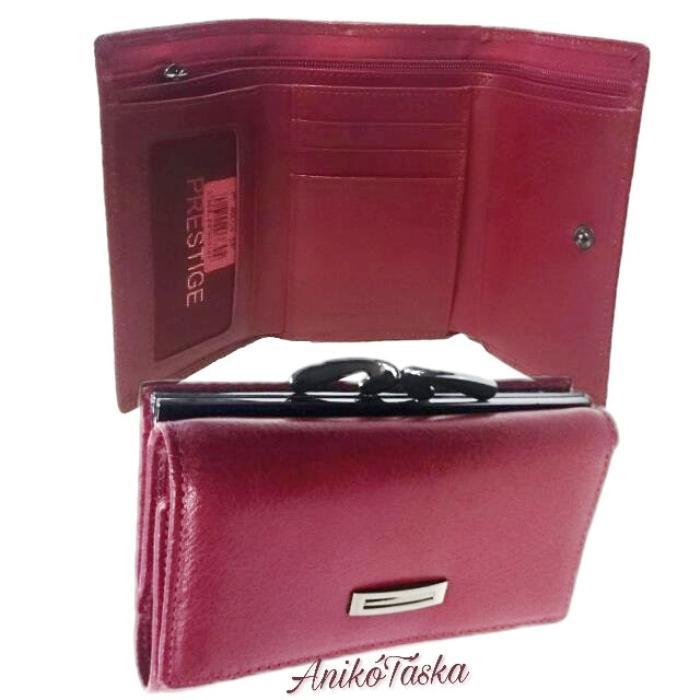 Piros kis bőr női pénztárca keretes Prestige f7dfaae61d