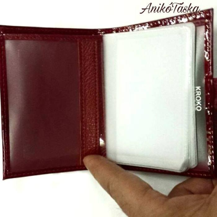 Patentos piros lakk bőr bankkártya tartó Kroko