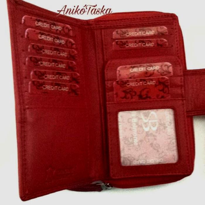 Sok kártyatartós piros bőr női pénztárca virág mintás 4b0af5282a